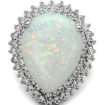 A Rare 15CT Cabochon Australian White Opal Double Halo Engagement Ring