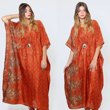 Vintage SILK Caftan Amber FLORAL Maxi Dress Boho Chic Dress Hippie Tent Dress Silk Maxi Dress
