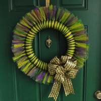 Mardi Gras Purple Green and Gold Glitter Tulle Wreath with Foil Ribbon Bow