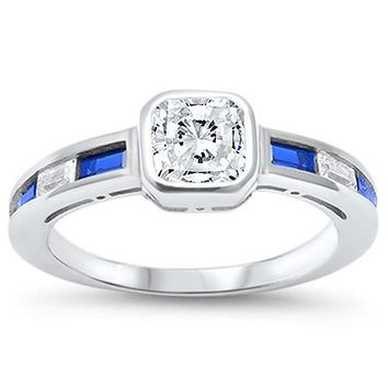 Princess Cut White Sapphire with Blue Sapphires Ring