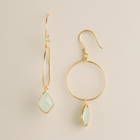 Gold with Stone Drop Earrings - World Market