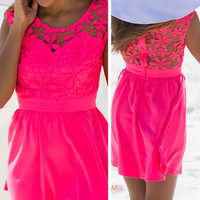 Pretty As A Picture Bubble Gum Lace Dress