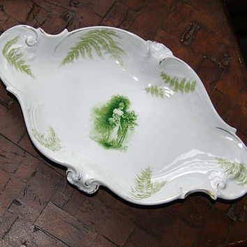 Rosenthal Porcelain Serving Dish 20s White and Green Figural Decoration Woman with Ferns