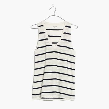 Whisper Cotton V-Neck Pocket Tank in Creston Stripe : | Madewell