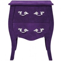 NEW! Frolic Flocked Purple Bedside Table  |  Bedside Tables  |  Tables  |  French Bedroom Company
