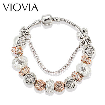 Luxury Antique Silver Plated Charm Bracelets & Bangles Murano Glass European Charm Beads Bracelets Summer Style B15175