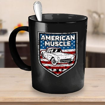 American Muscle Car Coffee Mug 11 - 15oz White - Black Ceramic Cup, Antique Vehicle, Vintage Automobile, Gift for Mechanic, Classic Car Mug