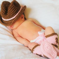 Too Cute Newborn Cowboy Hat and Boots Photography Set