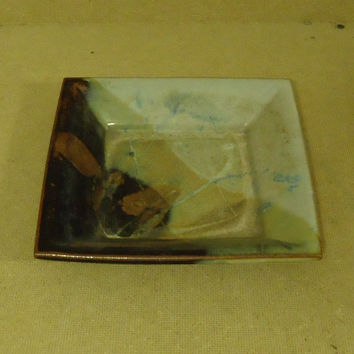 Houle Decorative Dish 8in x 8in x 2in Brown/Green/Gray Ceramic Pottery -- Used
