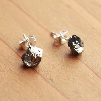 Rough Pyrite Fools Gold Stud Earrings - Gold or Sterling Silver Plated Stone Gemstone Crystal Raw Small Natural Square Glittery