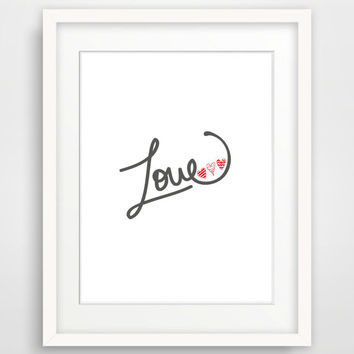 Printable Art 'Love' Print Typography Art Print Grey Nursery Wall art Nursery Art Print Instant Download Home Decor Dorm Decor Kids Room Art