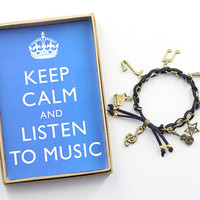 Keep Calm and Listen to Music Charm Bracelet in Gift Box