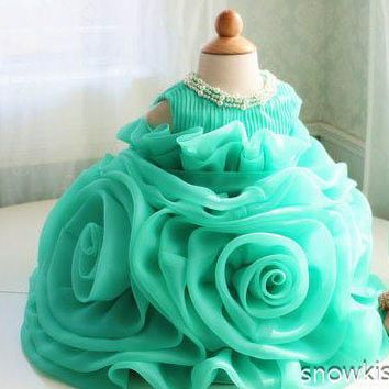 2016 Green Organza Ruffle christening frock design 1 year birthday dress Toddler Thanksgiving Baby party 1 year Christmas Dress