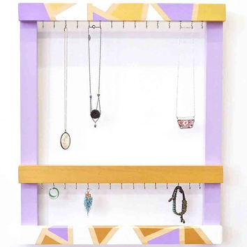 Jewelry Organizer - Modern Jewelry Frame -Wood Jewelry Holder - Jewelry Display - Jewelry Storage - Necklace Holder - Hand-Painted Frame