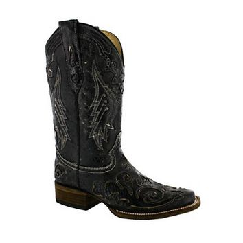 Corral Vintage Python Inlay Cowgirl Boot Square Toe Black A2402
