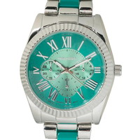 turquoise and silvertone metal boyfriend watch
