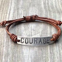 COURAGE ID Bracelet, silver, leather, Hand Stamped, Inspirational jewelry, bracelet with words,