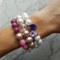 Pearl and Marble Ombre Beaded Stacking bracelets - Choose your style