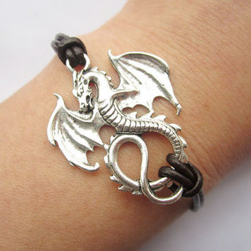 Bracelet---antique silver dragon & brown leather chain