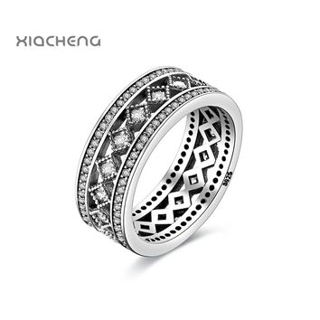 925 Sterling Silver Vintage Allure Full Clear Cubic Zirconia Rings For Women Wedding Jewelry R103