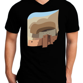 Montezuma Castle Artwork Adult Dark V-Neck T-Shirt