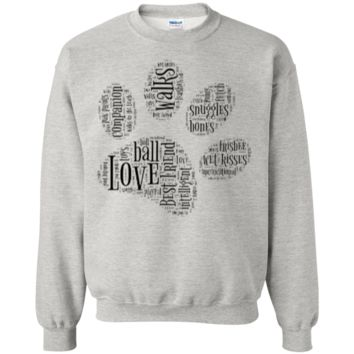 Black Paw Print Word Cloud Crewneck Pullover Sweatshirt  8 oz