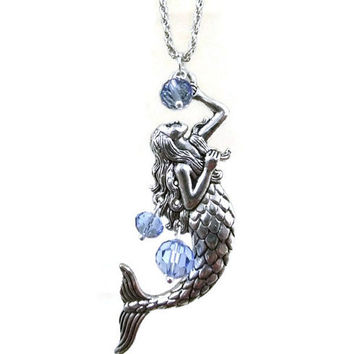 Silver Mermaid Necklace, Nautical Necklace, Blue Crystal Bead Necklace, Ocean Necklace, Love Necklace, Statement Necklace, Sweater Necklace