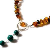 Cognac amber and malachite necklace - Bohemian chic