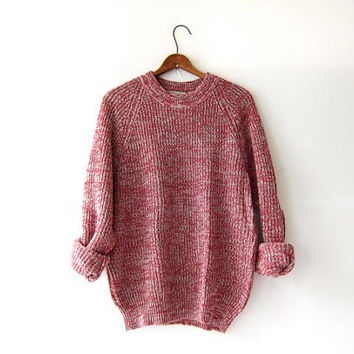vintage speckled red sweater. oversized sweater. chunky pullover.