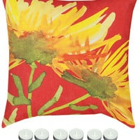 "Manual Woodworkers SLYWBL Yellow Blooming 18"" x 18"" Climaweave Outdoor / Indoor Pillow with 6-Pack of Tea Candles"