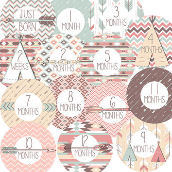 14 Aztec Tribal Arrows TeePee Chevron Patterns Pink Blue Brown Yellow Baby Girl or Boy Monthly Milestone Onesuit Stickers Newborn Shower Gift