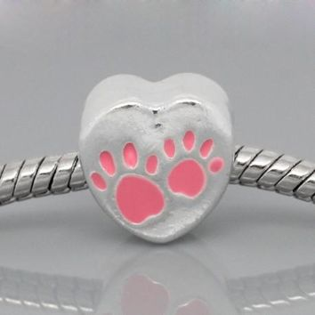 Pink Love Heart Dog Paws Charm Bead
