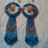 Rosette style beaded Fox earrings in Montana Blue