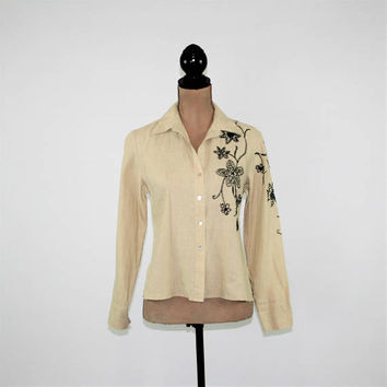 Beige Blouse Linen Shirt Women Medium Petite Embroidered Button Up Long Sleeve Tops Casual Hippie Clothes Boho Clothing Womens Clothing
