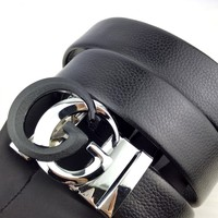 GUCCI trendy men and women models simple smooth buckle belt