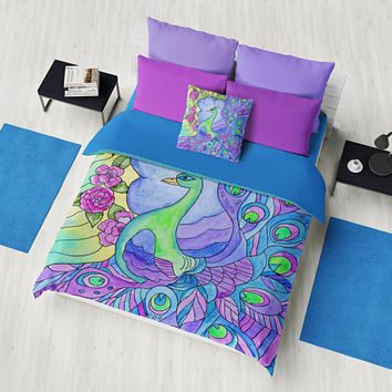 Peacock Duvet cover or Comforter - Purple peacock stained glass garden bedding, quilt cover,  illustrated, blue, purple, green, bold