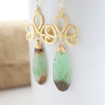 Chrysoprase Dangle Earrings,  Green and Gold Earrings, Gold Earrings, Long Earrings, Gemstone Earrings, Bridal Jewelry