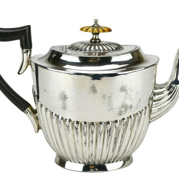 Silver Plated Gadrooned Teapot Antique English 19th Century