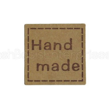 "120 CleverDelights ""Hand Made"" Stickers - 1"" Kraft Square Design - Kraft Paper Stickers - For Gift Tags, Goodie Bags, Scrapbooking, Gift Wrap, Baked Goods, Card Making, Presents, Embellishments and More! - 1 Inch Kraft Paper Handmade Labels"