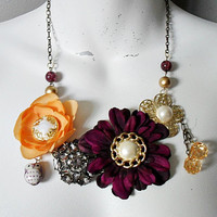Peaches and Plums Statement Necklace by TheLastBranch on Etsy