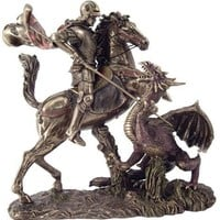 Saint George Slaying the Dragon Statue 10.5H - T1770