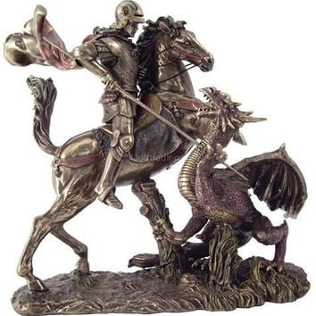 Saint George Slaying the Dragon Statue 10.5H