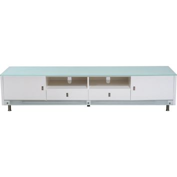 """83"""" Low Profile Lighted TV Stand Entertainment Cabinet High Gloss White"""