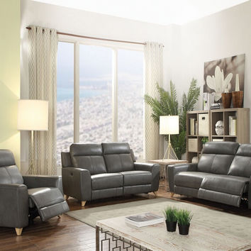 Acme 54200-01 2 pc Cayden gray leather aire match power motion sofa and love seat set