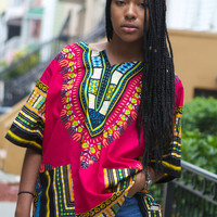 Dashiki Hot Pink African Shirt - Unisex - One Size