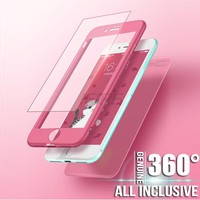360 Degree Hard PC Protective Phone Case For iphone 7 8 6 6s x 10 With Glass Full Cover Cases For iphone 7 8 6s plus phone case