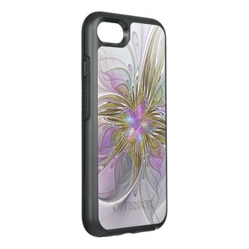Floral abstract and colorful Fractal Art OtterBox Symmetry iPhone 7 Case