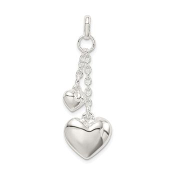 925 Sterling Silver Polished Puffed Heart Shaped Pendant