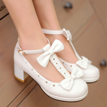Hot new Sweet T Cutout Bow Strap Round Toe Casual Thick Heel Single Shoes.Cosplay and Lolita Shoes for Woman and Girl