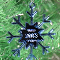 Snowflake Christmas Ornament Happy Holidays 2013 Mirrored Acrylic Laser Cut and Engraved